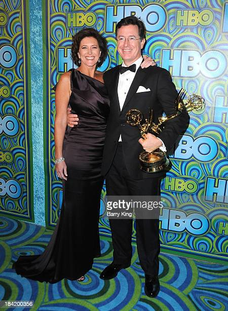 TV personality Stephen Colbert and his wife Evelyn McGeeColbert arrive at HBO's Annual Primetime Emmy Awards Reception on September 22 2013 at The...