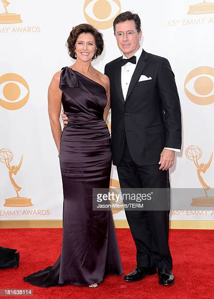 TV personality Stephen Colbert and wife Evelyn McGee arrive at the 65th Annual Primetime Emmy Awards held at Nokia Theatre LA Live on September 22...