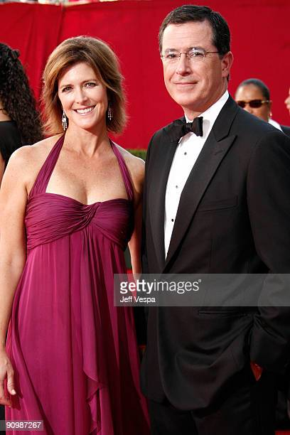 TV personality Stephen Colbert and wife Evelyn McGee arrives at the 61st Primetime Emmy Awards held at the Nokia Theatre on September 20 2009 in Los...