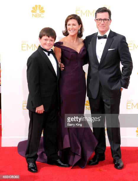 Personality Stephen Colbert and wife Evelyn McGee-Colbert and their son John Colbert arrive at the 66th Annual Primetime Emmy Awards at Nokia Theatre...