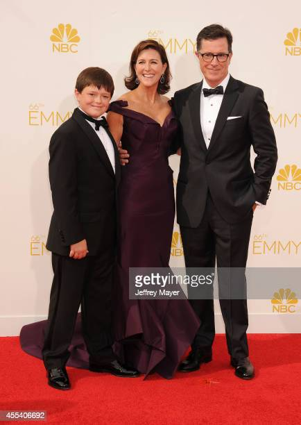 TV personality Stephen Colbert Evelyn McGeeColbert and son arrive at the 66th Annual Primetime Emmy Awards at Nokia Theatre LA Live on August 25 2014...