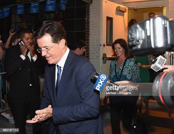 TV personality Stephen Colbert exits following the final taping of The Daily Show With Jon Stewart on August 6 2015 in New York City
