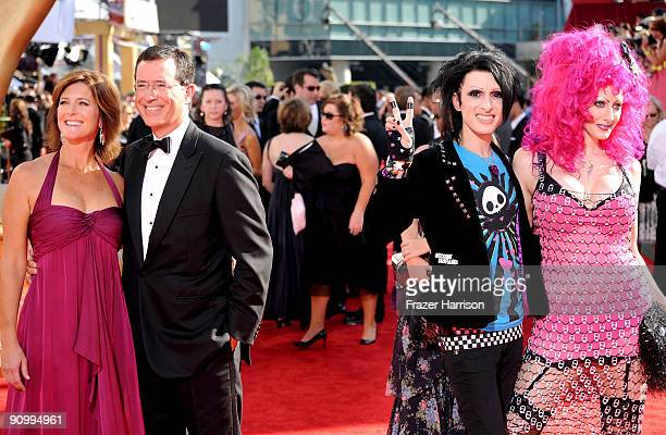 TV personality Stephen Colbert wife Evelyn McGeeColbert tv personalities Kynt Cothron and Vyxsin Fiala arrive at the 61st Primetime Emmy Awards held...
