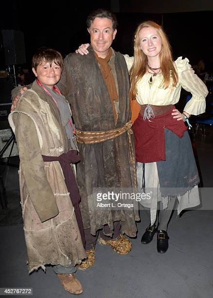 TV personality Stephen Colbert with son and daughter attend the Legendary Pictures preview and panel during ComicCon International 2014 at San Diego...