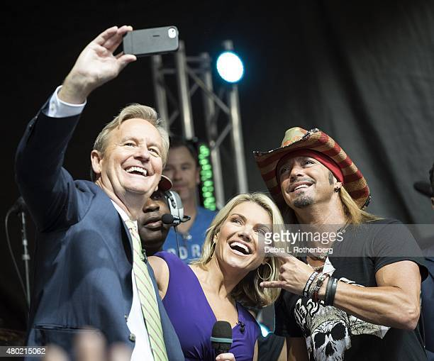 TV Personality Steve Doocy TV Personality Heather Nauert and Musician Bret Michaels pose for a photograph during FOX Friends All American Concert...