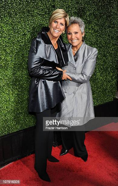 Personality Suze Orman and partner Kathy Travis arrive at OWN Oprah Winfrey Network's 2011 TCA Winter Press Tour Cocktail Party at the Langham Hotel...