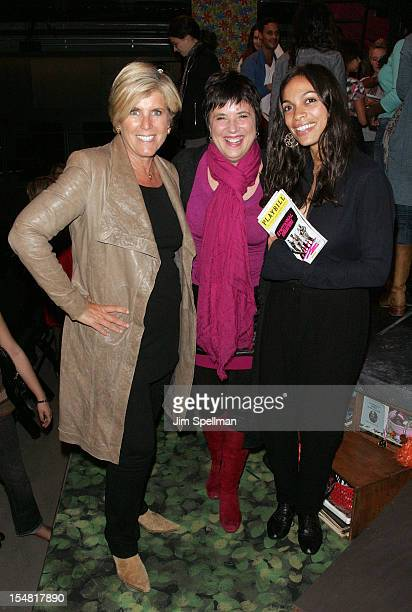 Personality Suze Orman playwright Eve Ensler and actress Rosario Dawson attend Emotional Creatures Talkback Series at The Pershing Square Signature...
