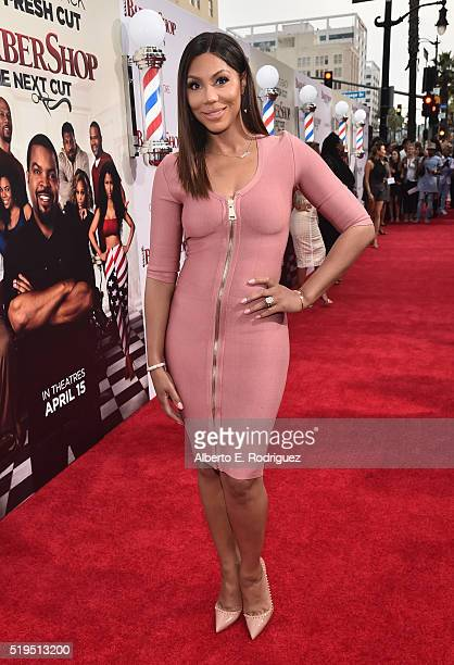 TV personality Tamar Braxton attends the premiere of New Line Cinema's Barbershop The Next Cut at the TCL Chinese Theatre IMAX on April 6 2016 in...