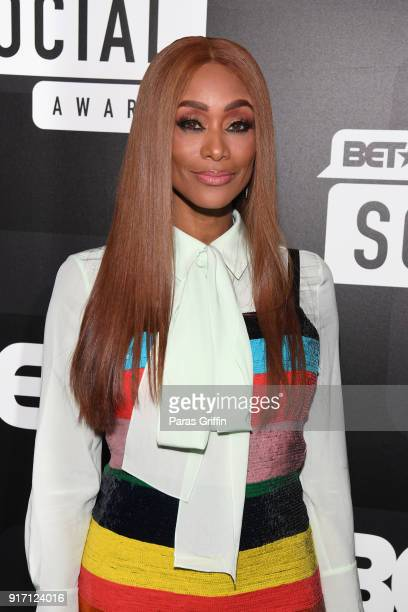 TV personality Tami Roman attends BET's Social Awards 2018 at Tyler Perry Studio on February 11 2018 in Atlanta Georgia