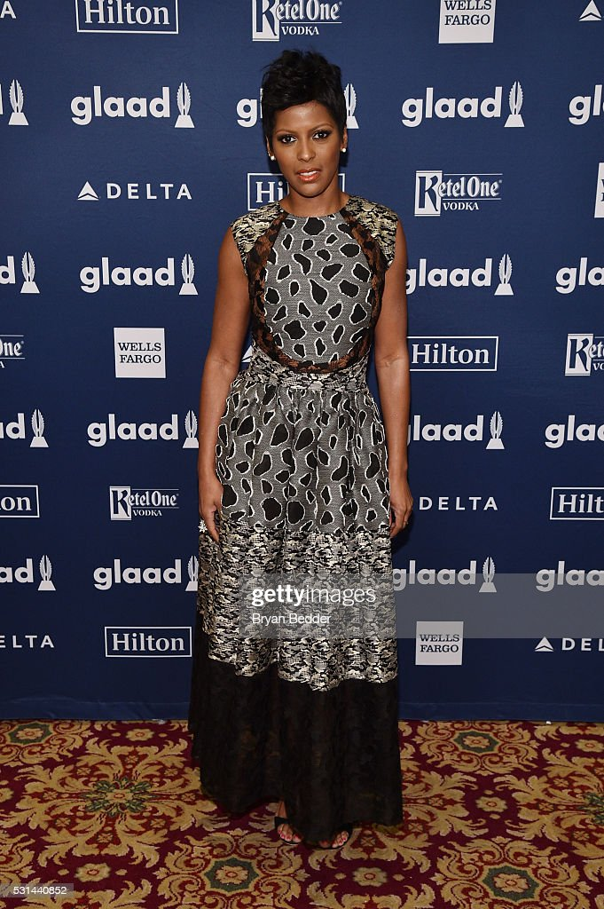 TV personality Tamron Hall attends the 27th Annual GLAAD Media Awards in New York on May 14, 2016 in New York City.