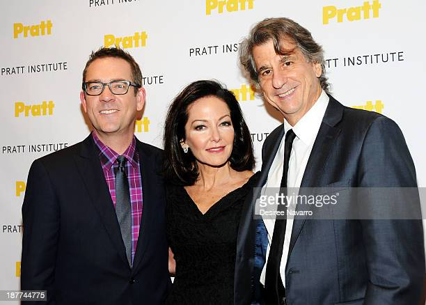 Personality Ted Allen, honoree Margaret Russell and David Rockwell attend the 2013 Pratt Institute gala at Mandarin Oriental Hotel on November 11,...