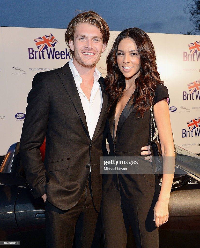 TV personality Terri Seymour (R) and model Clark Mallon attend the BritWeek Los Angeles Red Carpet Launch Party with Official Vehicle Sponsor Jaguar on April 23, 2013 in Los Angeles, California.