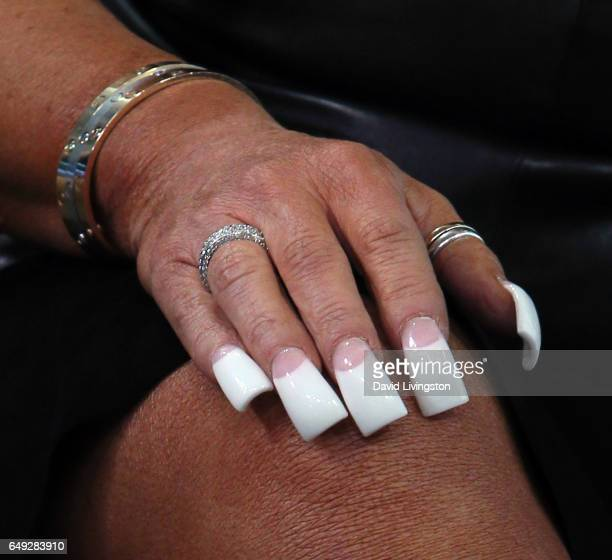 TV personality Theresa Caputo hand nails detail visits Hollywood Today Live at W Hollywood on March 7 2017 in Hollywood California