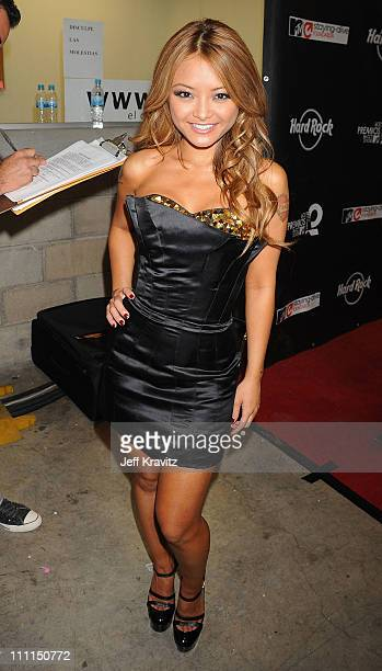 TV personality Tila Tequila poses backstage at the 7th Annual 'Los Premios MTV Latin America 2008' Awards held at the Auditorio Telmex on October 16...