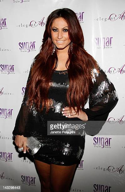 TV personality Tracy DiMarco attends the Real Housewives Of New Jersey premiere party at the Sugar Dining Den and Social Club on April 22 2012 in...
