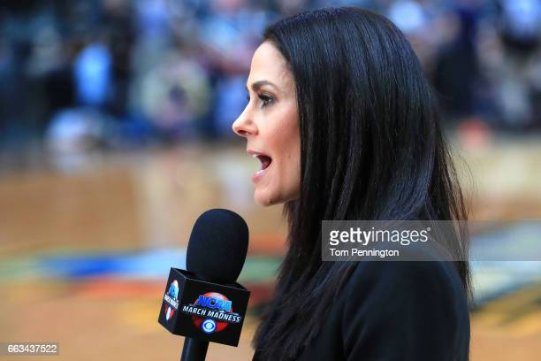 TV personality Tracy Wolfson speaks on the court before the South Carolina Gamecocks game against the Gonzaga Bulldogs during the 2017 NCAA Men's...