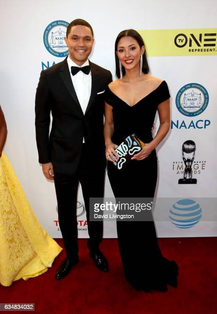 TV personality Trevor Noah and Jordyn Taylor attend the 48th NAACP Image Awards at Pasadena Civic Auditorium on February 11 2017 in Pasadena...