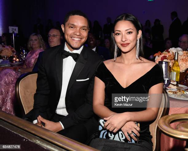 TV personality Trevor Noah and singer Jordyn Taylor attend PreGRAMMY Gala and Salute to Industry Icons Honoring Debra Lee at The Beverly Hilton on...