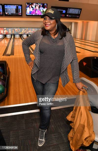 Personality Trina Braxton attends Bowling For Humphries hosted by Takeo Spikes and The NFL Legends Community at Midtown Bowl on January 30, 2019 in...