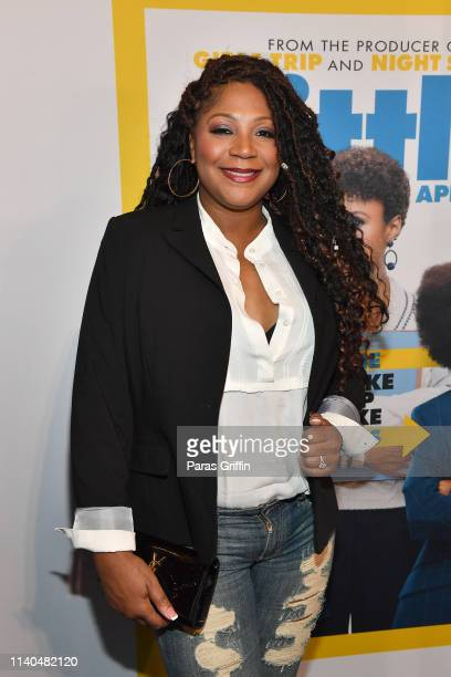 "Personality Trina Braxton attends ""Little"" Atlanta red carpet screening at Regal Atlantic Station on April 04, 2019 in Atlanta, Georgia."