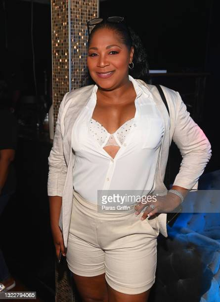 """Personality Trina Braxton attends """"The Encore"""" Watch Party at Members Only Lounge on June 09, 2021 in Atlanta, Georgia."""