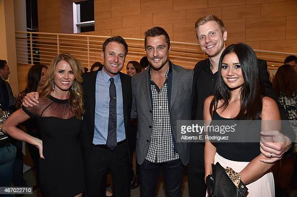 TV personality Trista Sutter TV host Chris Harrison TV personalities Chris Soules Sean Lowe and Catherine Lowe attend the WE tv presents 'The...