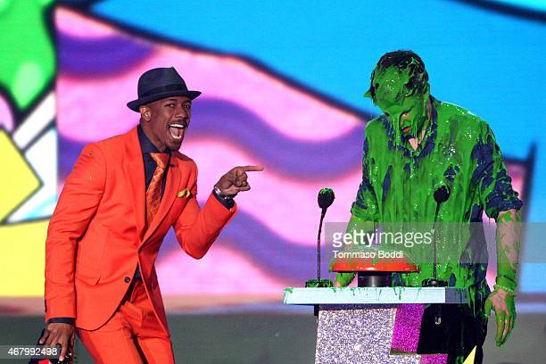 TV personality TV personality Nick Cannon and musician Shawn Mendes speak onstage during speak onstage during the Nickelodeon's 28th Annual Kids'...