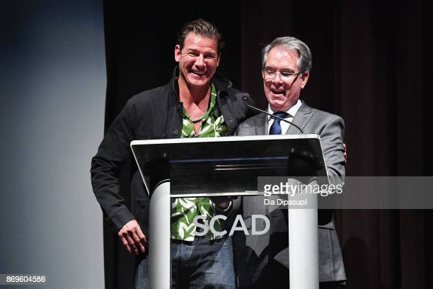 TV personality Ty Pennington and executive director of giving at SCAD Danny Filson onstage at Vanguard Award ceremony at Trustees Theater during 20th...