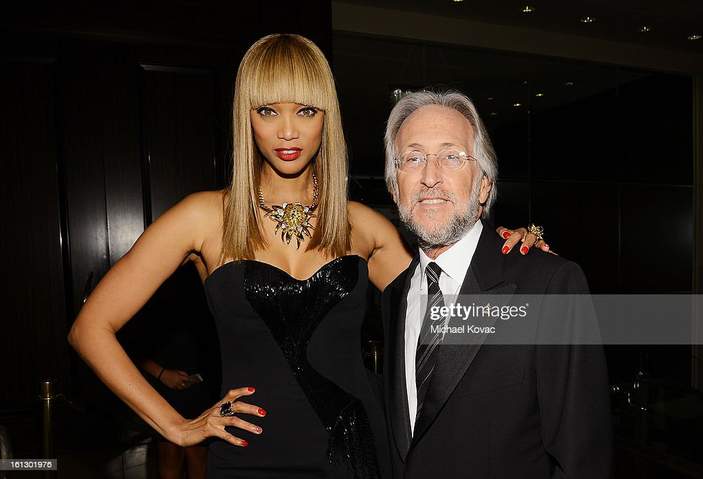 TV personality Tyra Banks and NARAS President Neil Portnow arrive at the 55th Annual GRAMMY Awards Pre-GRAMMY Gala and Salute to Industry Icons honoring L.A. Reid held at The Beverly Hilton on February 9, 2013 in Los Angeles, California.