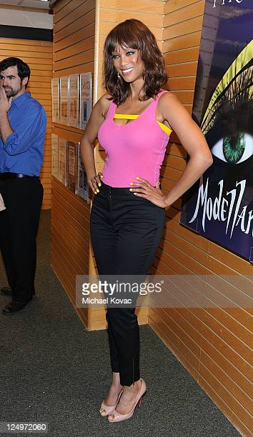 """Personality Tyra Banks arrives at a signing for her new book """"Modelland"""" at Barnes & Noble 3rd Street Promenade on September 14, 2011 in Santa..."""