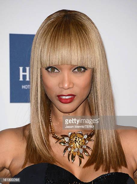 TV personality Tyra Banks arrives at Clive Davis The Recording Academy's 2013 PreGRAMMY Gala and Salute to Industry Icons honoring Antonio 'LA' Reid...