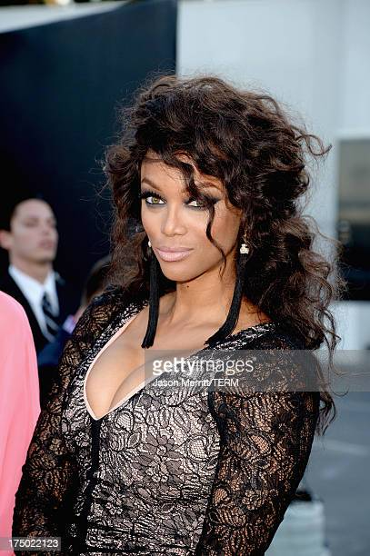 TV personality Tyra Banks arrives at the CW CBS and Showtime 2013 summer TCA party on July 29 2013 in Los Angeles California