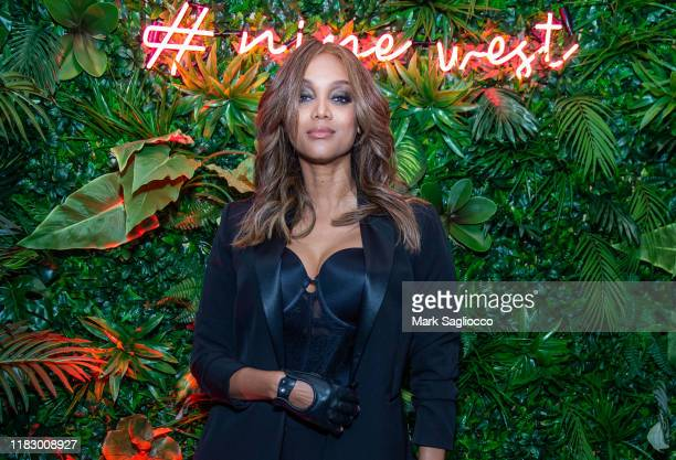 Personality Tyra Banks attends the Nine West Pop-Up Experience on October 23, 2019 in New York City.