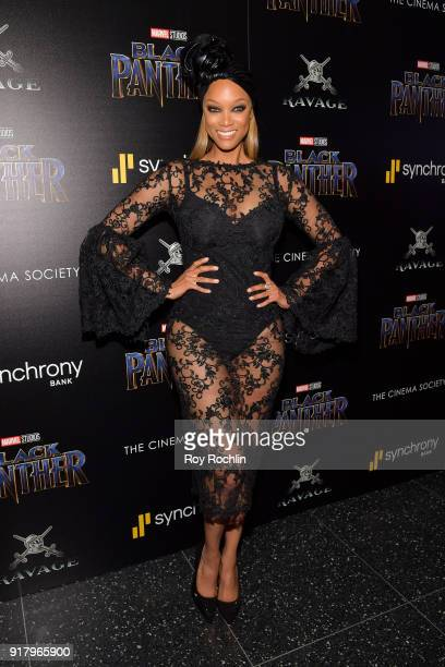 TV personality Tyra Banks attends the screening of Marvel Studios' 'Black Panther' hosted by The Cinema Society on February 13 2018 in New York City