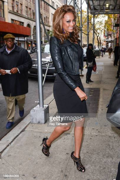 TV personality Tyra Banks enters the Wendy Williams Show taping at the Chelsea Studios on November 15 2012 in New York City