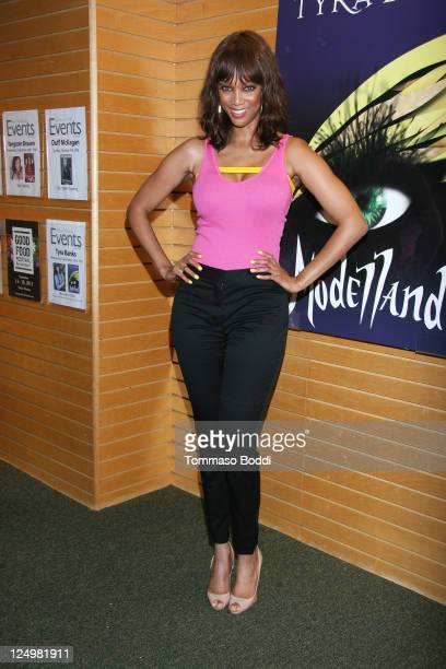 """Personality Tyra Banks signs copies of her new book """"Modelland"""" at Barnes & Noble 3rd Street Promenade on September 14, 2011 in Santa Monica,..."""