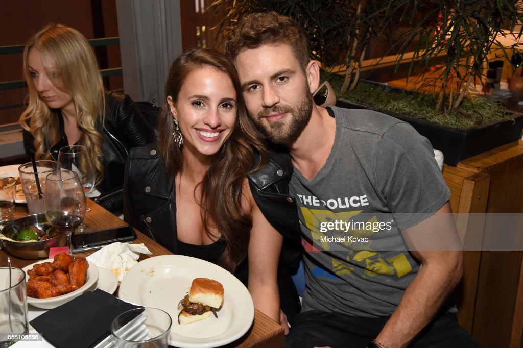 TV personality Vanessa Grimaldi and dancer Nick Viall attend the 'Dancing With The Stars' season 24 premiere celebration at Mixology 101 on March 20, 2017 in Los Angeles, California.