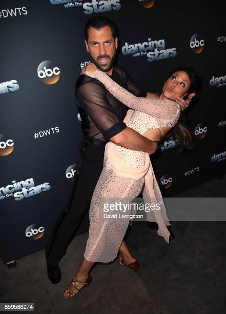 TV personality Vanessa Lachey and dancer Maksim Chmerkovskiy attend 'Dancing with the Stars' season 25 at CBS Televison City on October 9 2017 in Los...
