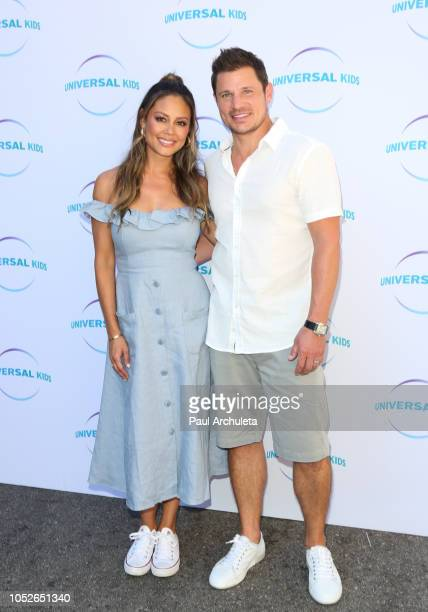 Personality Vanessa Lachey and Singer Nick Lachey attend the Universal Kids family event celebrating new series 'American Ninja Warrior Junior' and...