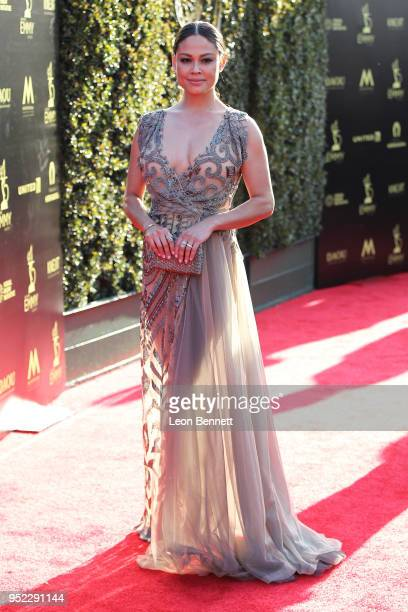 TV personality Vanessa Lachey attends the 45th Annual Daytime Creative Arts Emmy Awards Arrivals at Pasadena Civic Auditorium on April 27 2018 in...