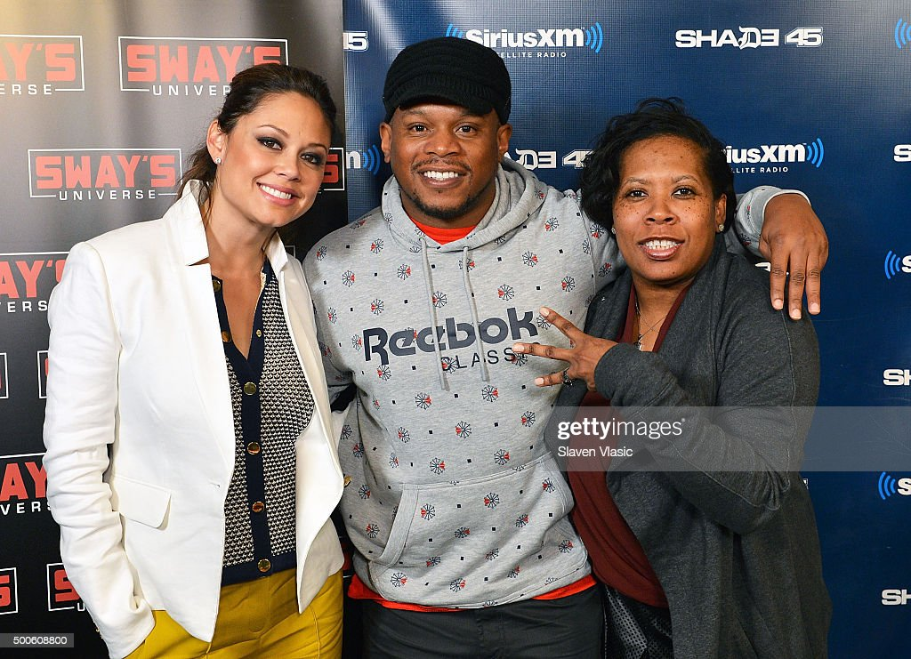 TV personality Vanessa Lachey with Shade 45/Sway co-hosts Sway Calloway and Heather B. Gardner visit Shade 45/Sway at SiriusXM Studios on December 9, 2015 in New York City.