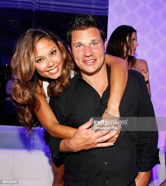 TV personality Vanessa Minnillo and singer/TV personality Nick Lachey attend the Super Skins Kick Off Party at Hotel 944 featuring Snoop Dogg at The...