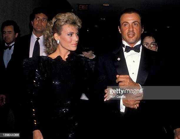 Personality Vanna White and actor Sylvester Stallone attending 'White House Correspondents Association Dinner' on April 21 1988 at the Capitol Hilton...