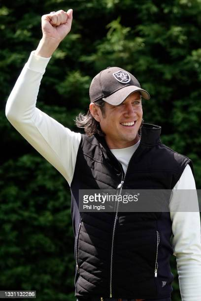 Personality Vernon Kay in action during the ProAm ahead of the Staysure PGA Seniors Championship at Formby Golf Club on July 28, 2021 in Formby,...