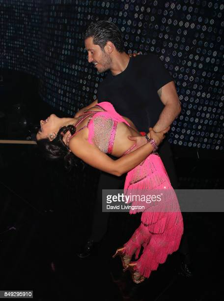 TV personality Victoria Arlen and dancer Valentin Chmerkovskiy attend Dancing with the Stars season 25 at CBS Televison City on September 18 2017 in...