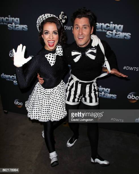 TV personality Victoria Arlen and dancer Valentin Chmerkovskiy pose at Dancing with the Stars season 25 at CBS Televison City on October 16 2017 in...
