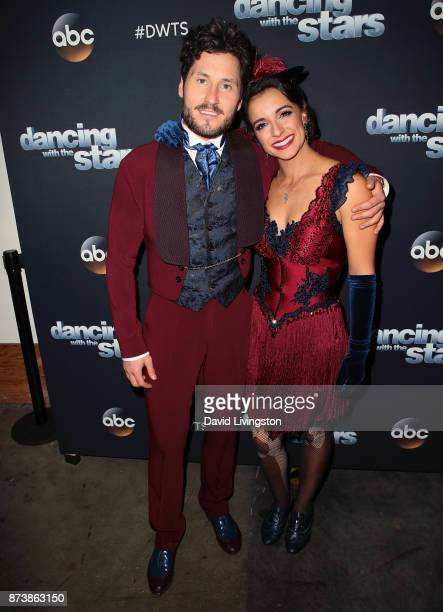 TV personality Victoria Arlen and dancer Valentin Chmerkovskiy pose at 'Dancing with the Stars' season 25 at CBS Televison City on November 13 2017...