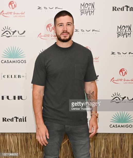 Personality Vinny Guadagnino arrives at the 4th of July grand opening celebration at Ayu Dayclub at Resorts World Las Vegas on July 04, 2021 in Las...