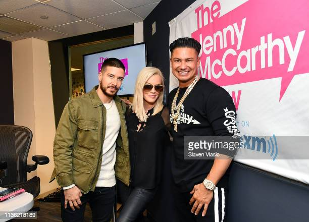 TV personality Vinny Guadagnino host Jenny McCarthy and TV personality DJ Pauly D pose for photos at The Jenny McCarthy Show at SiriusXM Studios on...