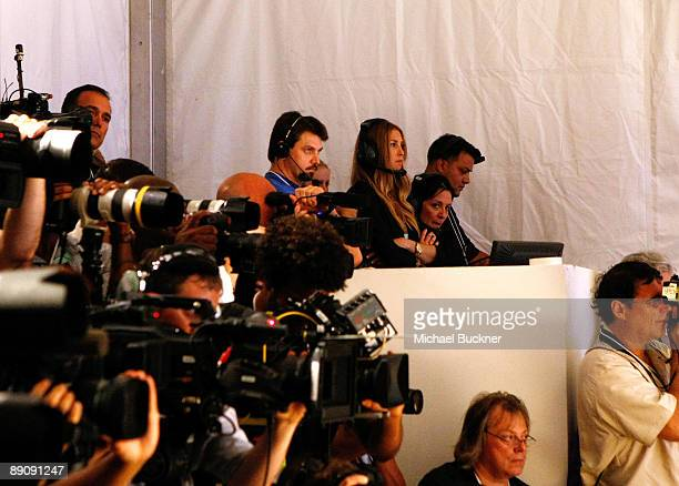 TV personality Whitney Port and People's Revolution's Kelly Cutrone working at the Mara Hoffman 2010 fashion show during MercedesBenz Fashion Week...
